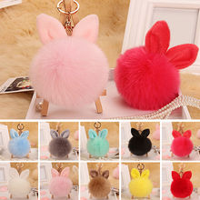Lovely Imitation Rabbit Ears Fur ball plush key chains 4 Colors Ball Bag Car Ornaments Artificial rabbit Hair Metal key chain