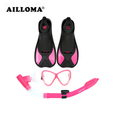 AILLOMA Professional Flippers Breathing Tube Diving Mask Set Adult Short Swimming Fins Dry Snorkel Anti-fog Submersible Eyewear(China)