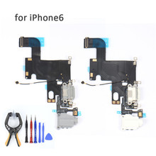 New Charger Charging Port Connector Data Flex Cable For iphone 6 6G Ribbon Replacement Parts with Headphone Jack Mic Flex Cable