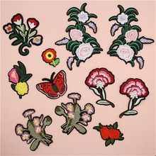 Fabric Embroidered Butterfly Flower Patch Clothes Sticker Bag Sew Iron On Applique DIY Apparel Sewing Clothing Accessories BU115