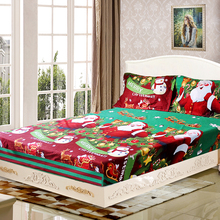 4pcs Christmas Santa Bedding Set Micro Fiber 3D Printed Fitted Bed Sheet Pillowcase Bed Sheet Set For Merry Christmas Gift(China)