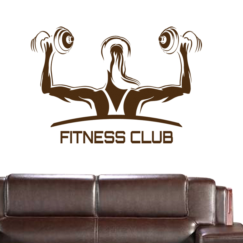Fitness Club Gym Name Dumbbells Sticker Girl  Crossfit Decal Body-building Posters Vinyl Wall Decals Parede Decor Gym Sticker