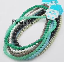 Valentines Day Gift Ideas for Kids Glass Necklaces, Mixed Color, about Beads: about 8mm in diameter, about 57pcs/strand, 17.7""