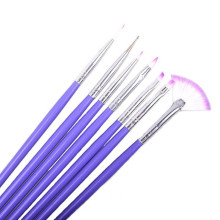 2017 Professional 7pcs Nail Art Design Makeup brushes set Drawing Painting Pen Polish Tips Make up Nail tools Purple