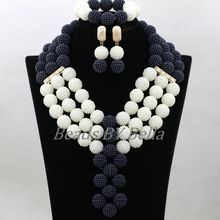 HOT African Costume Jewelry Sets Black/White Nigerian Wedding Beads Pendant Necklace Lace Jewelry Sets Free Shipping ABK737(China)