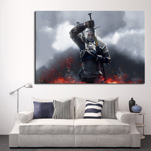 Modern Wall Art Oil Painting Print On Canvas The Witcher Wild Hunt Game Magic Sword Fire Home Decor Free Shipment No Frame