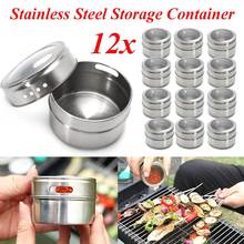 Magnetic Spice Tin Jars 12Pcs/Pack Stainless Steel Condiment Storage Holder Container Clear Lid Home Kitchen Cooking Tools