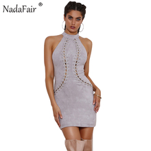 Nadafair Sleeveless Lace-up Skinny Sexy Bodycon Club Dresses Autumn Halter Mini Party Dresses(China)
