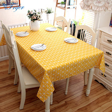 High Quality Cotton Dining Desk Cover Yellow Plaid Rectangle Tablecloth Modern Home Kitchen Table Cloth Washable Table Covers
