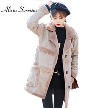 2017 New Shearling Sheepskin Coats Women Thick Suede Jackets Long Sleeve Overcoats Winter Lambs Wool Long Jacket Females 16015(China)