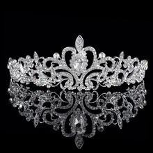 Brilliant Wedding Bridal Princess Austrian Crystal Prom Hair Tiara Crown Veil Headband Silver Plated Wedding Jewelry jason703