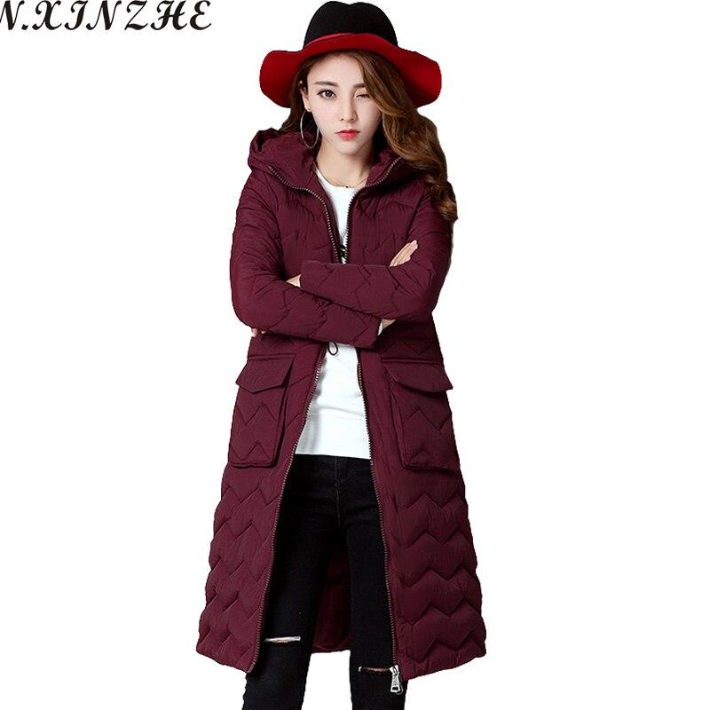 N.XINZHE  Winter jacket women Coat 2017 Fashion Wadded Parkas Pockets Office Lady Coats Jackets Outwear chaqueta mujer Îäåæäà è àêñåññóàðû<br><br>