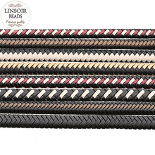 LINSOIR 2yard/lot Genuine Pu Flat Braided Leather Cord Rope Fit Necklaces Bracelets Leather Thread For DIY Jewelry Making F5514(China)