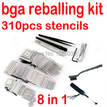 free shipping 310pcs BGA Sik Template rework directly heat stencils Full set for PS3 XBOX NV Intel+Reballing station(China)