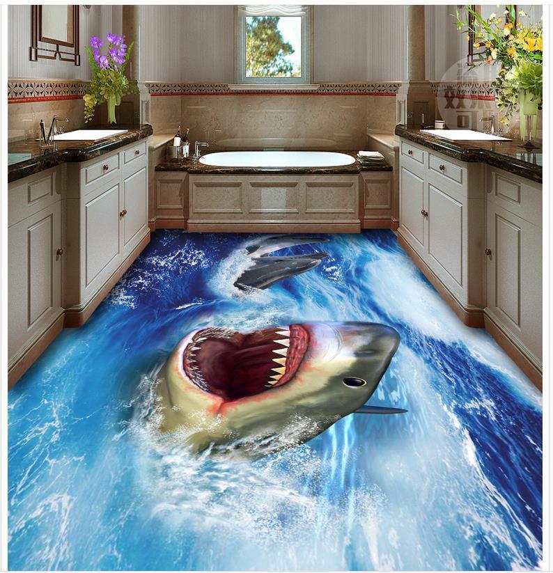 3d floor painting wallpaper Shark 3D floor waterproof wallpaper for bathroom wall 3d flooring<br>