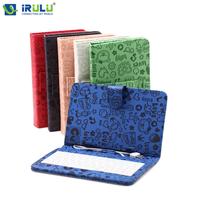 "New iRULU 7"" Fashion Printed Colorful Tablet PC Case PU Leather Cover With Micro USB Keyboard Folding Folio Keyboard Leather(China (Mainland))"