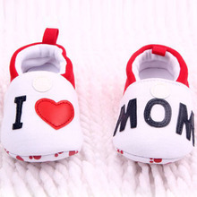 Hot Sale I Love MOM/DAD Lovely Baby Girls Boy Shoes Round Toe Flats Soft Slippers Toddler Shoes(China)