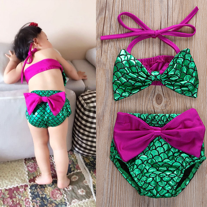 Newborn Toddler Girls Solid Letter Print Beach Bathing Pool Swimwear Clothes Set