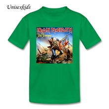 Youth Printed Short Sleeve Iron Maiden The Trooper Rock Band T Shirts Baby t-shirt 100% Cotton Clothing Top For Boy And Girl