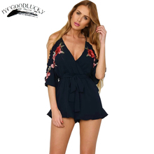Buy Embroidery Jumpsuit Shorts Women 2017 Summer Shoulder Overalls Rompers Spaghetti Straps Jumpsuits Plus Size Women Clothing for $20.23 in AliExpress store