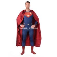 Halloween Cosplay Superman Costumes Red Blue Lycra Spandex Full Body Superhero Zentai Suits (include Cloak )