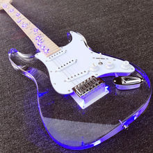 Acrylic Electric guitar,Maple fretboard with Lift Tree, Fingerboard &Transparent Body with LED Light, China Guitar