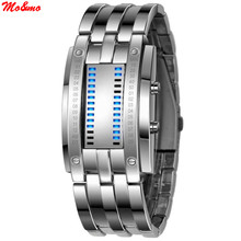 New Technology Binary Watch Stainless Steel Date Digital LED Bracelet Sport Watches montre femme(China)