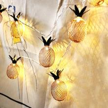 Christmas Tree Ornaments Led Light Pineapple Fruit Lantern Christmas Rattan Wedding Decoration Tropical Party supplies(China)