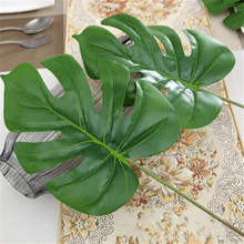 1Piece large Artificial fake Monstera palm tree Leaves green Plastic leaf wedding DIY decoration cheap Flowers arrangement plant(China)