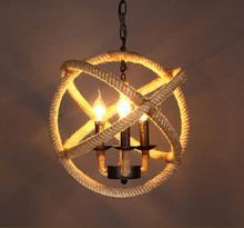 Retro industry style pendant light personality hemp rope nostalgic vintage pendant light preparation GY179