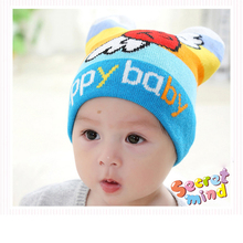 Knitted Baby Hat Cartoon Pattern Kids Caps Toddler Warm Crochet Headgear Ear Bonnet Winter Infant Beanie Hats Baby Boys Clothing(China)