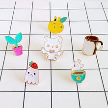Fashion flower pots coffee cup bunny rabbit strawberries metal brooch pins for women jewelry wholesale