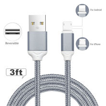 YFW Reversible USB Cable for Apple Lightning and Micro Nylon Braided Cord For iPhone 6S 5S Xiaomi Power Bank Android Devices