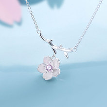 925 Sterling Silver Sakura Flower Necklaces & Pendants Cherry Blossoms With Chain Choker Necklace Jewelry Collar Colar