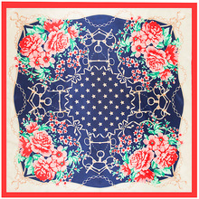 Fashion Chinese Style Dot Flower Print Silk Square Scarf Shawl High Quality 90 X 90cm Imitated Silk Satin Scarves Women Hijab