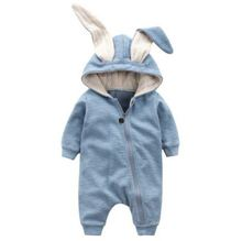 Cute Rabbit Ear Hooded Baby Rompers For Babies Boys Girls Clothes Newborn Clothing Brands Jumpsuit Infant Costume Baby Outfit(China)