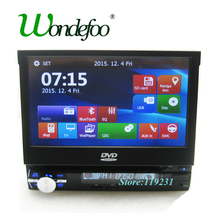 "7"" touch screen Universal 1 DIN Car DVD PLAYER GPS car radio stereo AUDIO with GPS Navigation BT SD USB SWT Retractable screen"