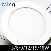 LED Panel Downlight 3W / 6W / 9W / 12W / 15W / 18W Ultra Thin Ceiling Recessed Slim Round LED Panel Light for Bathroom Kitchen