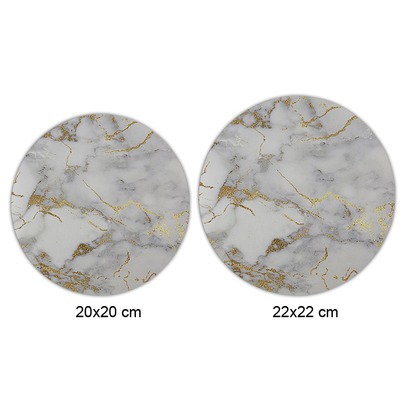 Gold marble Round Mouse Pads Non-Skid Desk Rubber Mouse Pad Game Mouse Pad office MousePad 22X22 CM (2)