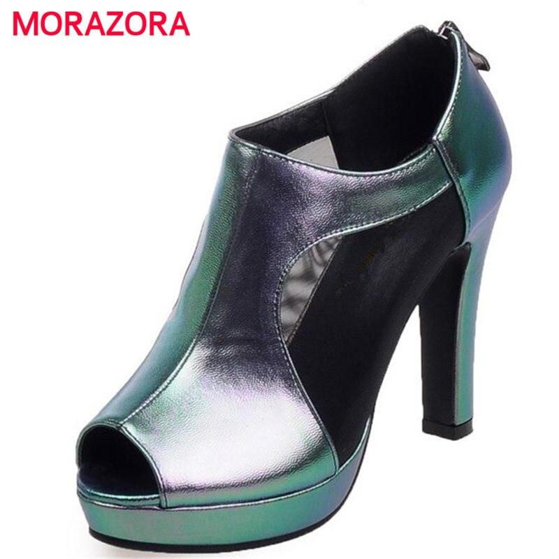 MORAZORA Big size 34-41 platform shoes zipper peep toe high heels shoes party elegant comfortable woman pumps solid<br>