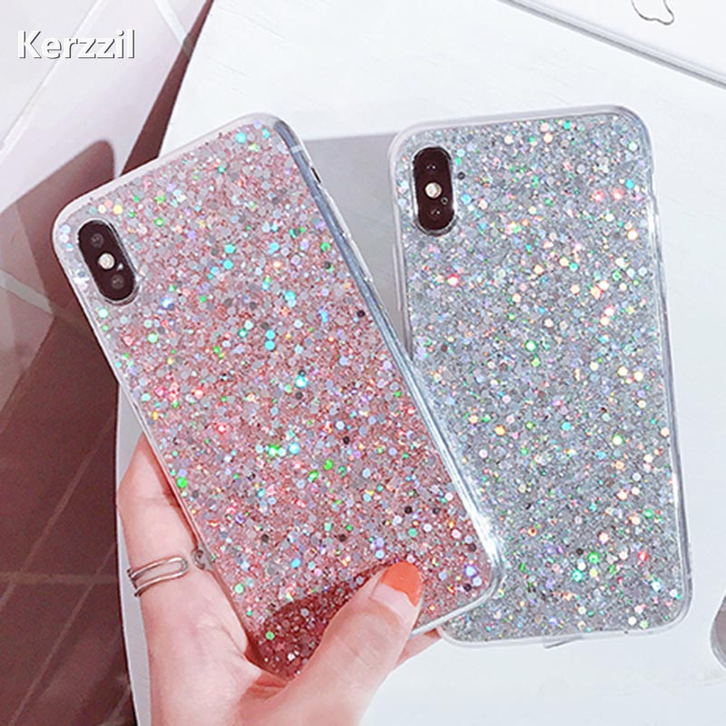 Kerzzil Bling Glitter Luxury Case iPhone X Candy Shining Powder Sequins Cases iPhone X Soft Silicone Phone Cover Coque