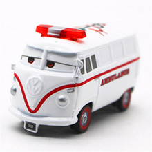 Disney Pixar Cars White Fillmore Ambulance Diecast Metal Alloy Cartoon Movie Cars 2 Alloy PVC 1:55 Car Toys Car-tyling