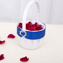 free shipping Splendor Flower Basket  in Royal Blue with heart brooch wedding supplier HL1072