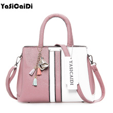 YASICAIDI High Quality PU Leather Women Handbags Patchwork Colorful Tassel Women Messenger Bags Ladies Large Casual Tote Bags(China)