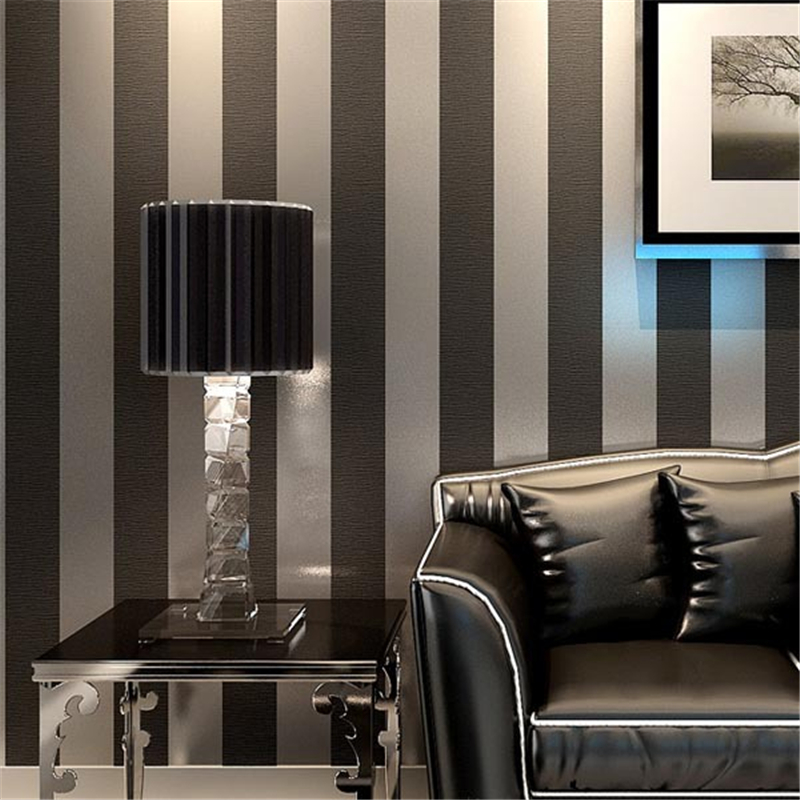 beibehang Environmentally friendly black and white blue living room TV background wall sofa wallpaper vertical striped non-woven<br>