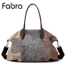 Fabra Brands Vintage Fashion Women Canvas Bag Female Casual Totes Messenger Bag Ladies Crossbody Bag Big Patchwork Capacity Pack(China)