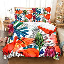 Fanaijia 3d Tropical plants Toucan Duvet Cover Set animal luxury Bedding Set twin size bed set(China)