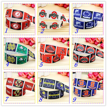 7/8'' Free shipping sport team printed grosgrain ribbon hairbow headwear party decoration diy wholesale OEM 22mm D406(China)