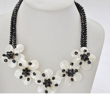 z6800 2Strds 50mm black faceted crystal white shell flower necklace 20inch Factory Wholesale price Women Gift word Jewelry(China)