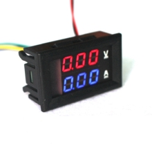 "Mini Digital Voltmeter Ammeter DC 100V 10A Panel Amp Volt Current Meter Tester 0.28"" Blue Red Dual LED Display Free Shippin"